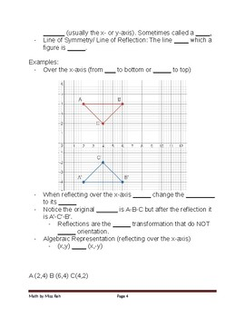 TEKS 8.10C TRANSFORMATIONS STUDENT NOTES