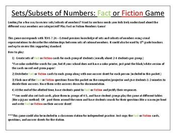 TEKS ALIGNED! 7.2A Number Sets/Subsets Fact or Fiction Game