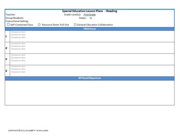 Special Education Lesson Plan Template Teaching Resources Teachers