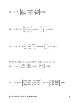 TEKS AR.5C Multiply matrices by a scalar