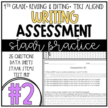 STAAR Practice Writing Assessment 2 TEKS Aligned Revising And Editing