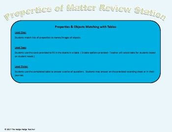 TEKS Aligned Properties of Matter Review