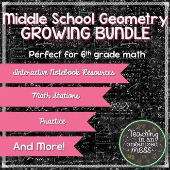 Middle School Geometry and Measurement BUNDLE Grade 6