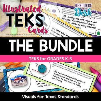 TEKS CARDS BUNDLE - Illustrated and Organized Objectives Cards K-3