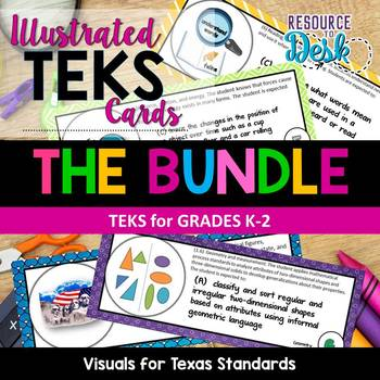TEKS CARDS BUNDLE K-2 - Illustrated and Organized Objectives Cards