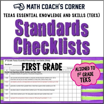 Math TEKS Checklists, 1st Grade