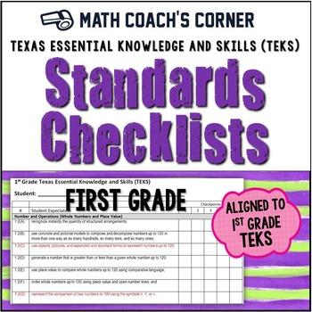 Math TEKS Checklists, 1st Grade