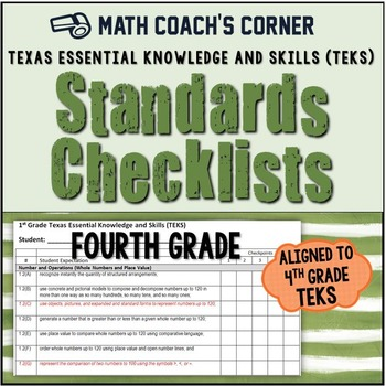 Math TEKS Checklists, 4th Grade