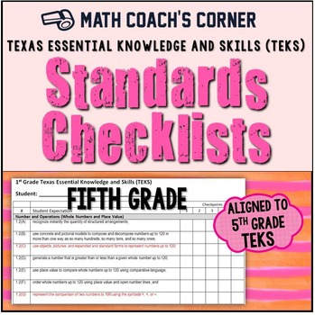 Math TEKS Checklists, 5th Grade