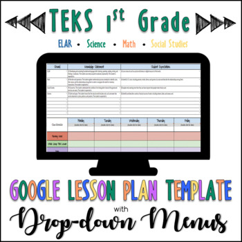 TEKS Google Lesson Plan Template with Drop-down Menus {1st Grade}
