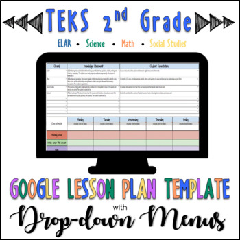 TEKS Google Lesson Plan Template with Drop-down Menus {2nd Grade}