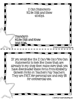 "TEKS ""I Can"" Statements Editable Template"
