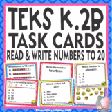 Math TEKS K.2B Texas Kindergarten Task Cards Read and Write Numbers to 20