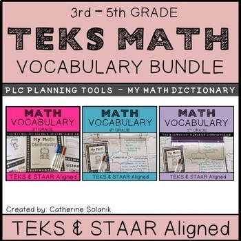 TEKS MATH VOCABULARY BUNDLE (GRADES 3 - 5) PLC Tools - My Math Dictionary