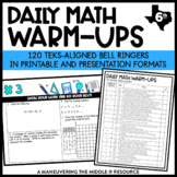 6th Grade Math Warm Ups - TEKS