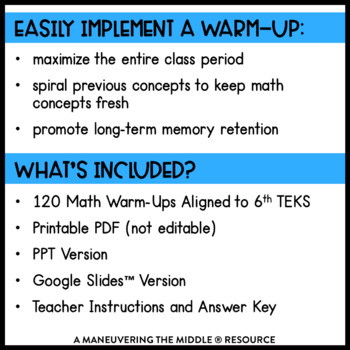 6th Grade Math Warm Ups - TEKS by Maneuvering the Middle ...