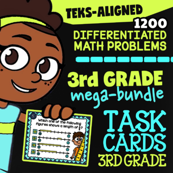 TEKS Math Task Cards ★ 40 Sets ★  Math TEKS 3.2A - 3.8B ★ 3rd Grade TEKS Bundle