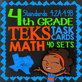4th Grade STAAR Math Review Task Cards ★ 41 Sets Cover All TEKS Math Standards