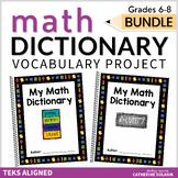 TEKS Math Vocabulary - MIDDLE SCHOOL BUNDLE - PLC Tools - My Math Dictionary