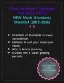 TEKS (Texas Music Standards) Checklist 3-5