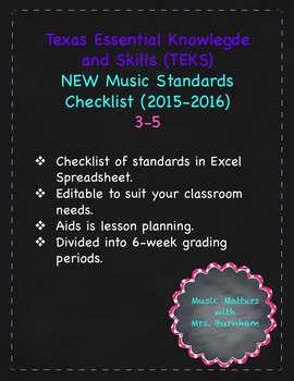 TEKS (Texas Music Standards) Checklist 3-5
