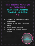 TEKS (Texas Music Standards) Checklist K-2