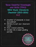 TEKS (Texas Music Standards) Checklist K-2