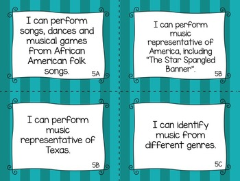 "TEKS Music ""I Can"" Statements for Fifth Grade"
