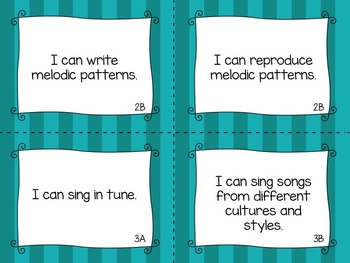"""TEKS Music """"I Can"""" Statements for First Grade"""