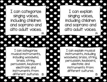 "TEKS Music ""I Can"" Statements for Fourth Grade"
