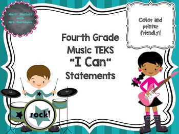 """TEKS Music """"I Can"""" Statements for Fourth Grade"""