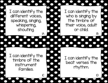 """TEKS Music """"I Can"""" Statements for Kindergarten"""