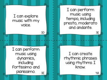 """TEKS Music """"I Can"""" Statements for Second Grade"""