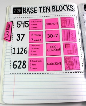 TEKS Numbers Notebook Place Value Second Grade