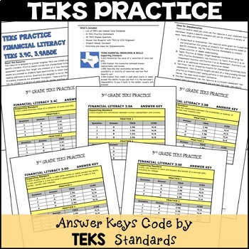 3rd Grade TEKS PRACTICE FINANCIAL LITERACY 3.4C 3.9A 3.9B 3.9D 3.9E STAAR