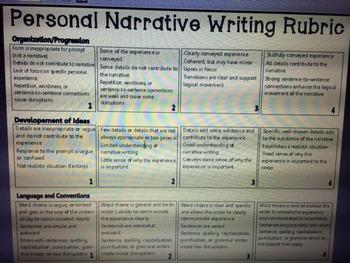 TEKS Personal Narrative Writing Rubric