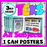 TEKS Posters 3rd Grade All Subjects Bundle TEKS I Can Statements