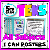 TEKS Posters 5th Grade All Subjects Bundle TEKS I Can Statements