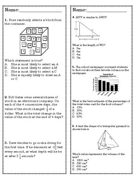 7th Grade STAAR Math Review & Prep Packet