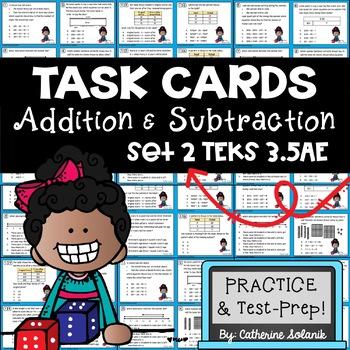 3rd Grade TEKS TASK CARDS ~ ADDITION & SUBTRACTION 3.5A 3.5E STAAR Aligned