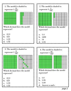 TEKS Task Cards 4.2 G Decimals to Fractions Sample