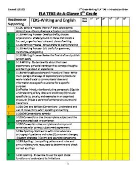 TEKS at-a-glance 5th Grade Writing/ ELA (Introduction Order)