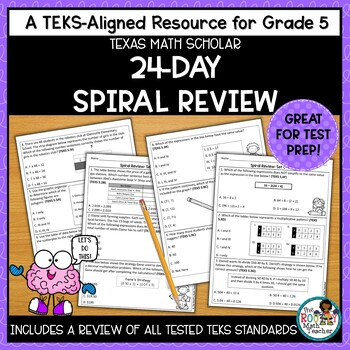 Texas STAAR Math Scholar: 24-Day Spiral Review Grade 5
