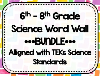 TEKs Science Middle School Word Wall - BUNDLE - Watercolor