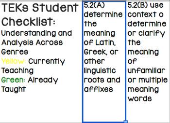 TEKs Student Checklist - 5th Grade Reading