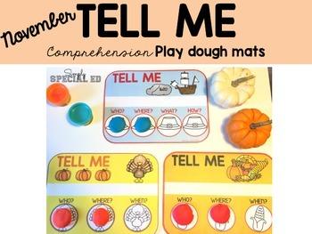 TELL ME! Comprehension Play Dough Mats: November Edition