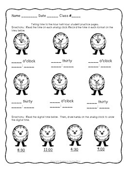 TELLING AND WRITNG TIME TO THE MINUTE CCSS 3RD GRADE