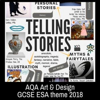 TELLING STORIES - theme mind-map interactive artist links - AQA GCSE ESA 2018