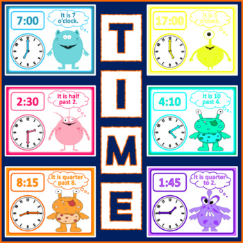 TELLING THE TIME DISPLAY POSTERS - MATHS CLOCKS HOURS MINUTES HALF QUARTER