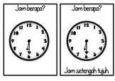 TELLING THE TIME half past flashcards JAM BERAPA? bahasa indonesia INDONESIAN